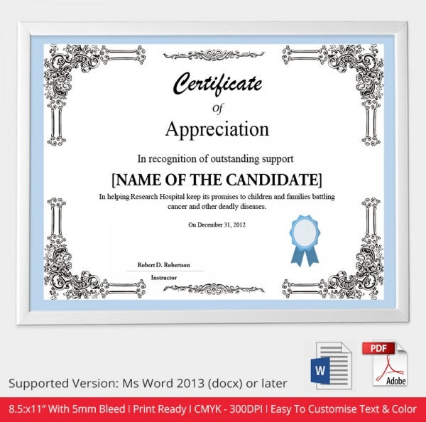 Certificate template 50 free printable word excel pdf psd certificate of appreciation template yadclub Image collections