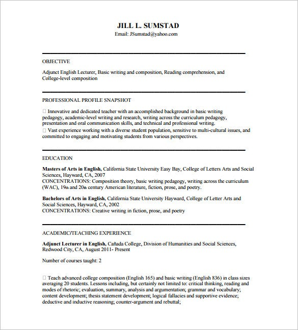 resume for english tutor pdf free download
