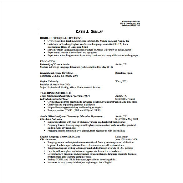 This Resume Looks Elaborate But It Primarily Focuses On Two Most Important  Parameters Of A Tutoru0027s Resume  Education And Work Experience.  Esl Resume