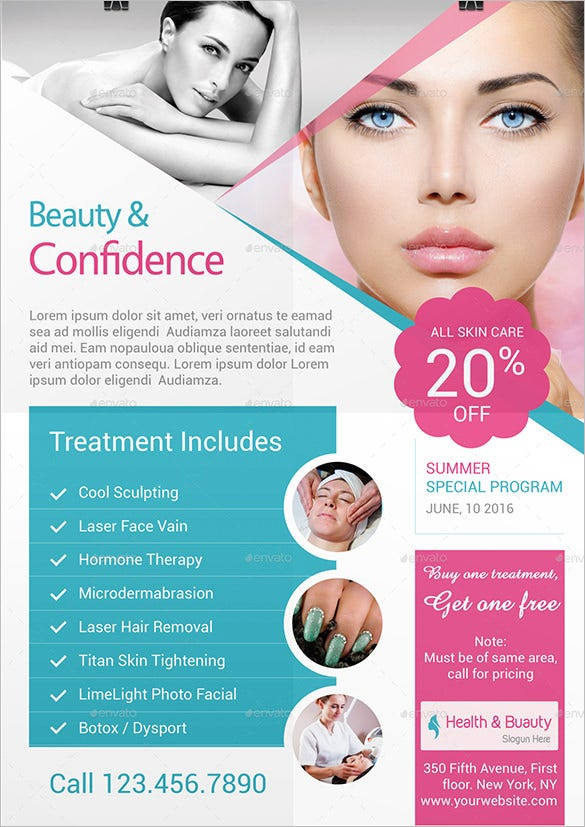 health beauty trifold brochure flyer template