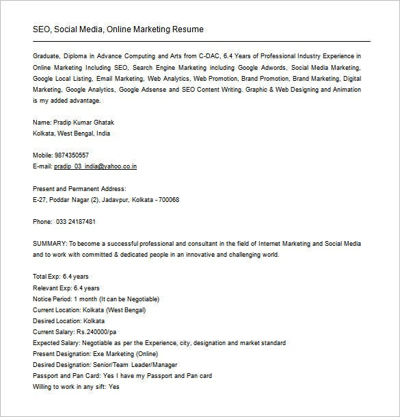 experience seo analyst resume free word download