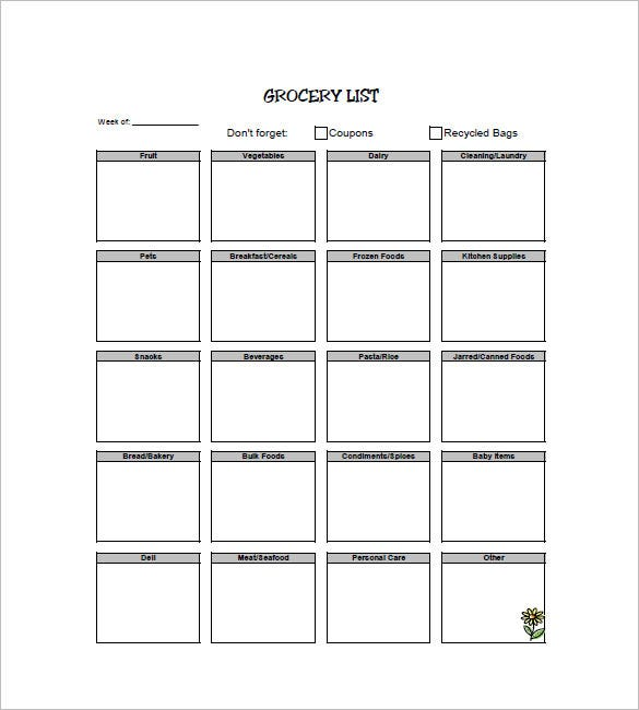 Shopping List Template – 10+ Free Sample, Example, Format Download ...