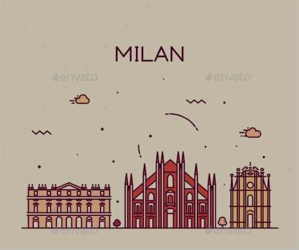 milan skyline illustration art