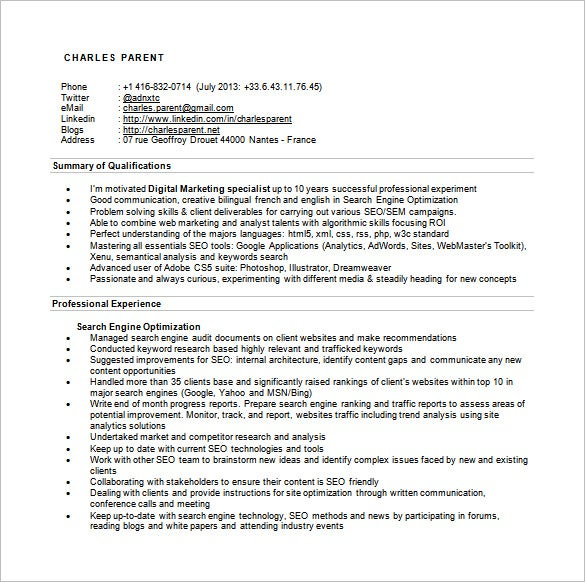 Seo Executive Resume Template – 12+ Free Word, Excel, Pdf Format