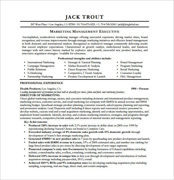 ppc manager resume free pdf template