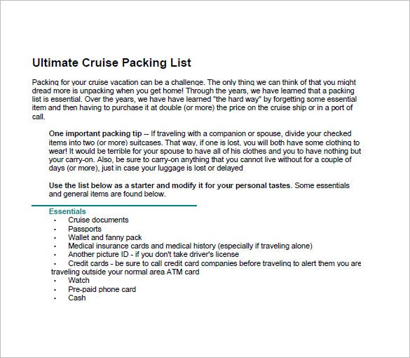 Packing List Template – 10+ Free Sample, Example, Format Download