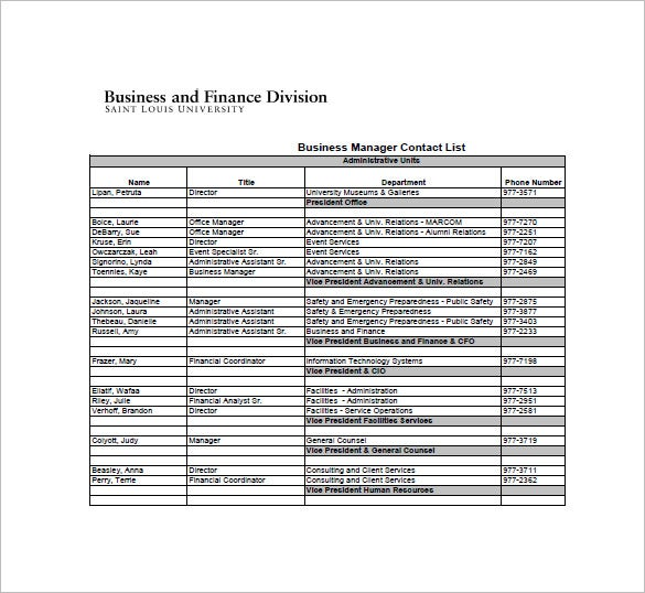 Sample Business Contact List Template  Free Contact List Template
