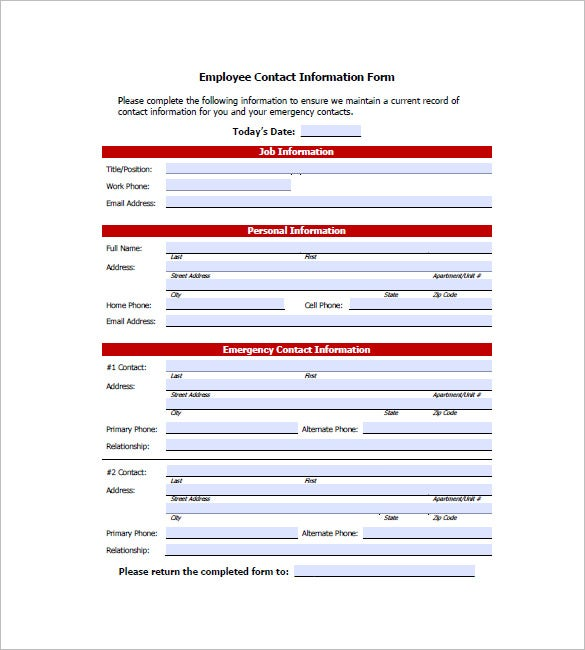 Employee Contact List Template  Personal Information Template