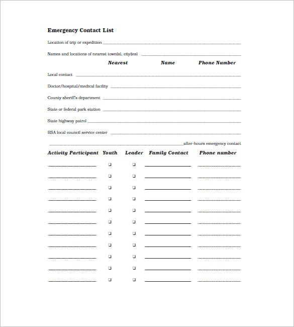 Sample Emergency Contact List Template  Contact Details Template