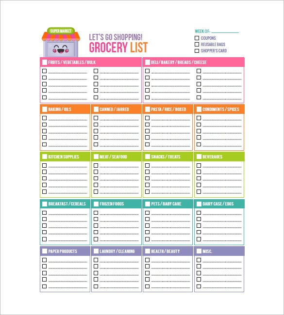 Grocery List Template   Free Sample Example Format Download