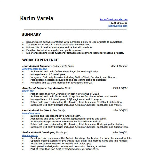 Senior Android Developer Resume PDF Free Download  Application Developer Resume