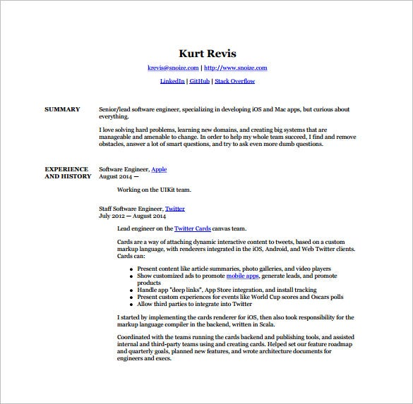 android developer resume templates free word excel pdf - Developer Resume Template