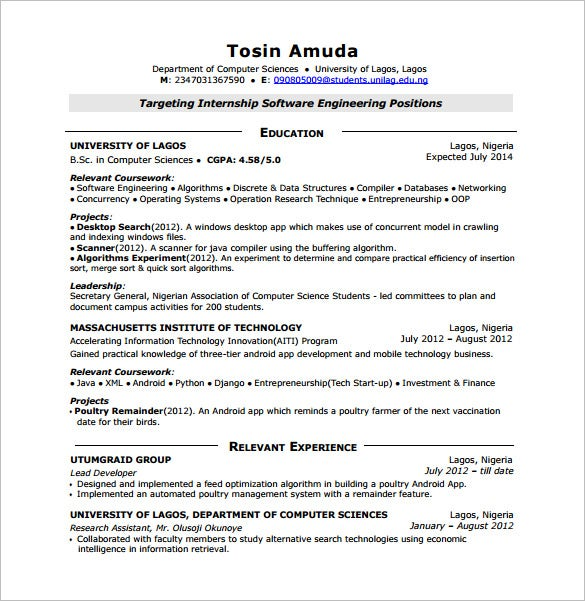 Sample Resume For Android Freshers  Template