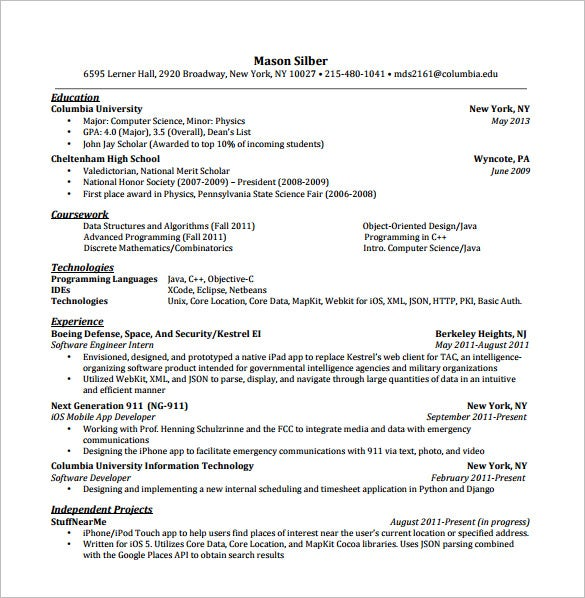 iphone android developer resume pdf free template