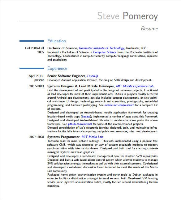 Resume of software developer – Software Developer Resumes