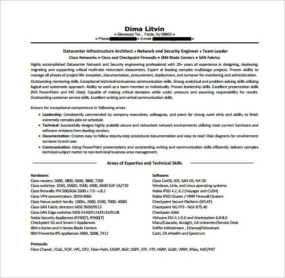 cisco network engineer resume free pdf template - Network Engineer Resume