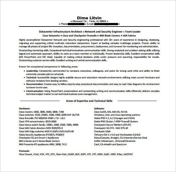 network engineer resume template  8 free word excel