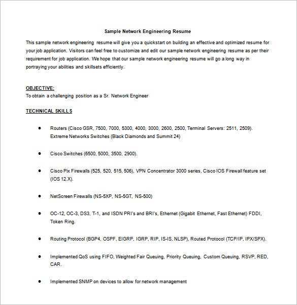 network engineer resume template  u2013 9  free word  excel