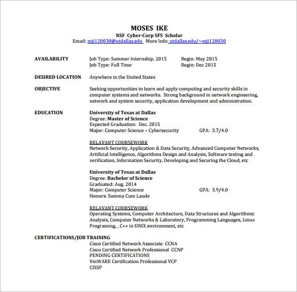 network engineer resume pdf