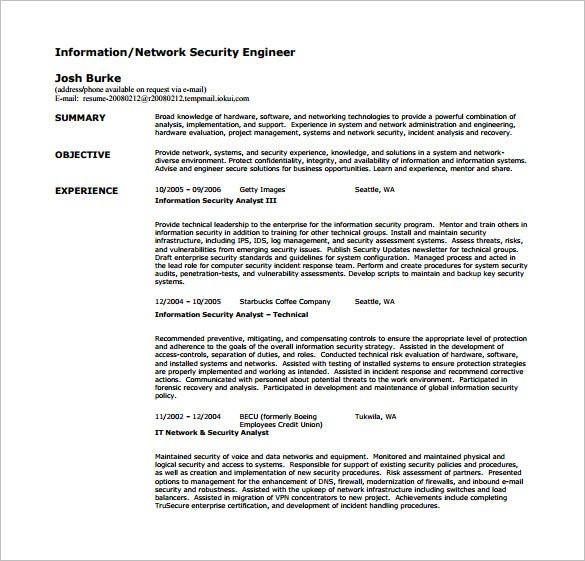 Network Security Engineer Resume Free PDF Template