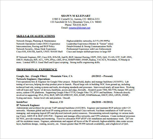 Senior Network Engineer Resume Free PDF Downlaod