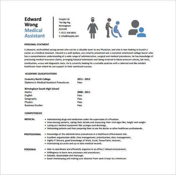 Medical Assistant Resume Template 8 Free Word Excel PDF – Medical Assistant Resumes Templates
