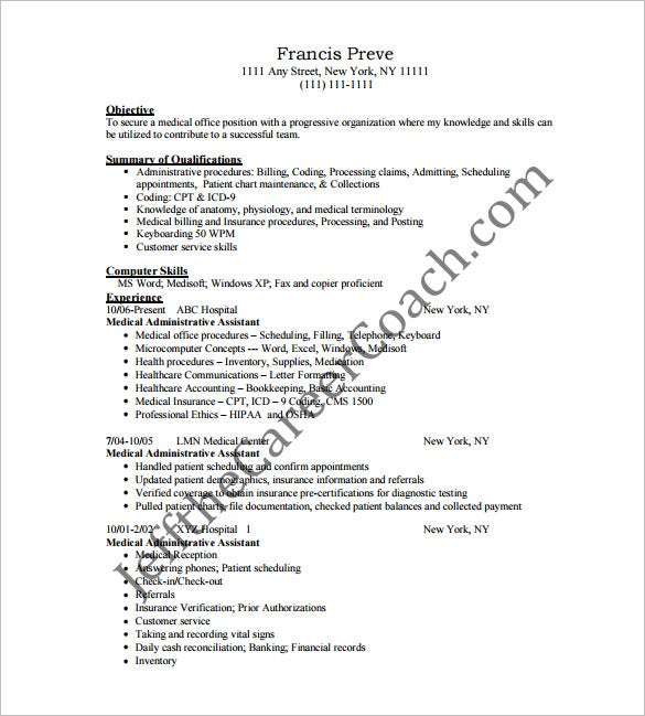 Medical Administrative Assistant Resume Free PDF  Medical Assistant Resume Template Free