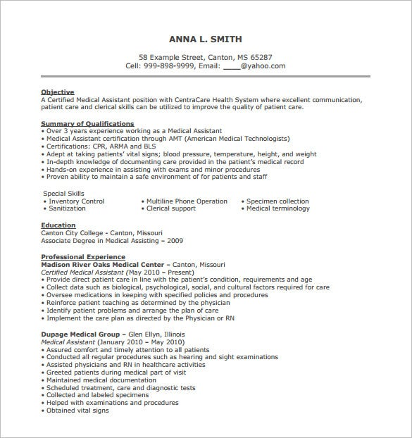 Medical Assistant Resume Template   Free Word Excel Pdf