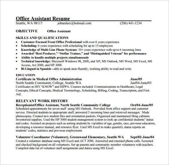 Free Medical Office Assistant Resume PDF Download  Medical Assistant Resume Template Free