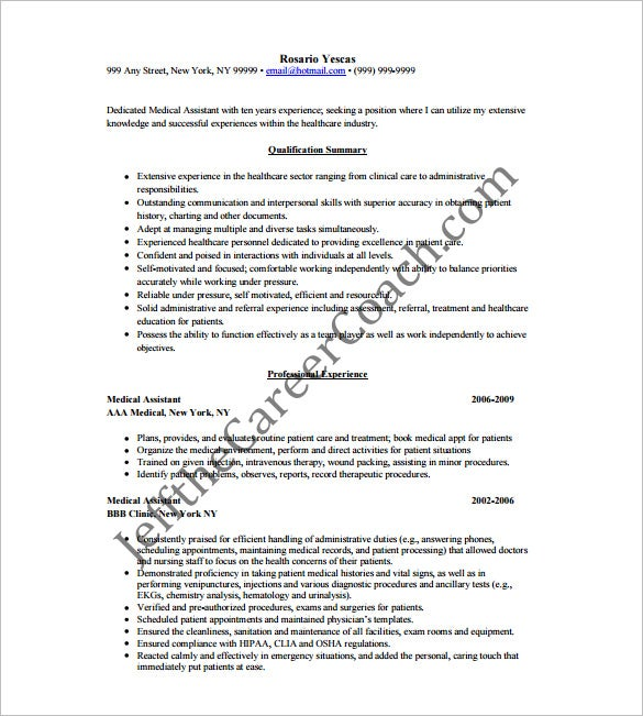 Experienced Medical Assistant Resume Free PDF Download  Medical Assistant Resume Template Free