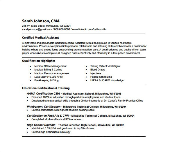 medical assistant resume template 8 free word excel pdf - Medical Assistant Resume Sample