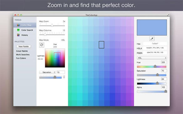 the color itunes app to create color scheme palette