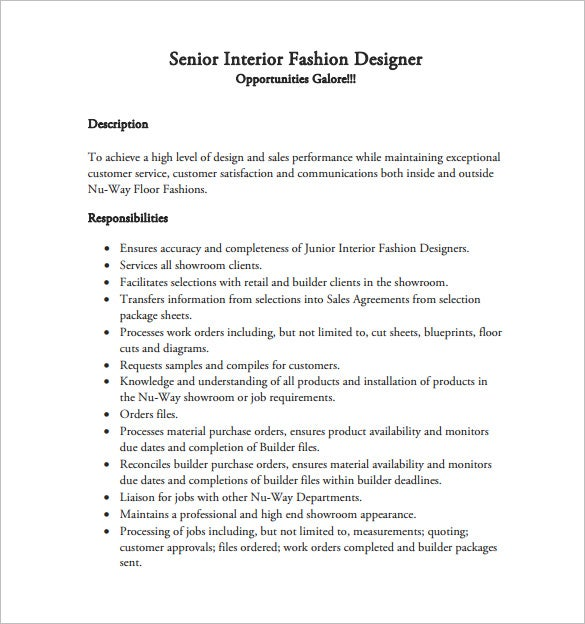 Captivating Senior Interior Fashion Designer Resume Free PDF