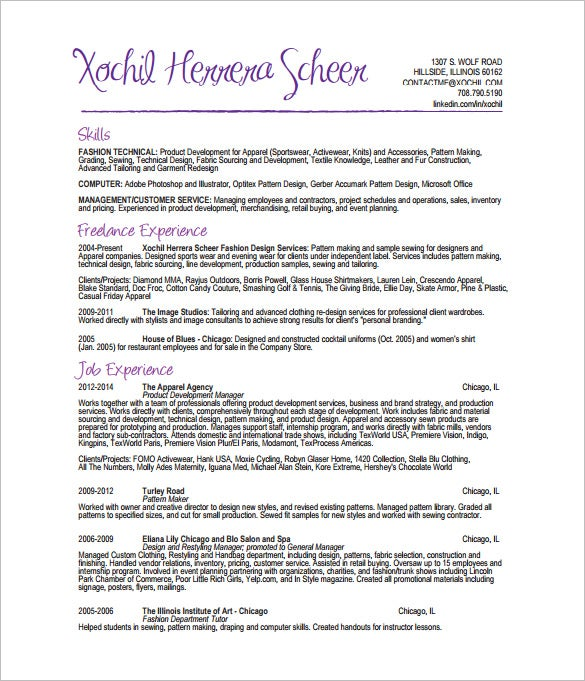 fashion designer resume template 8 free word excel pdf format