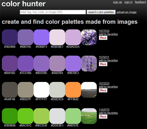 color hunter tool for palettes made from images