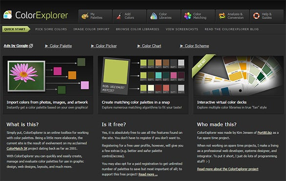 colorexplorer tool for color scheme palette