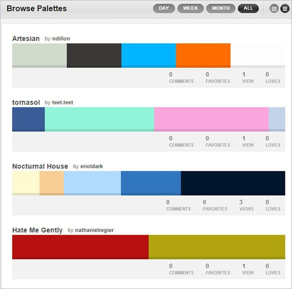 colourlovers tool for color scheme palette