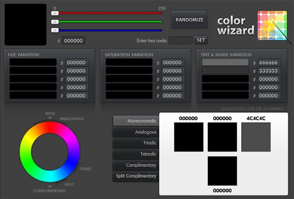 color wizard tool for color scheme palette