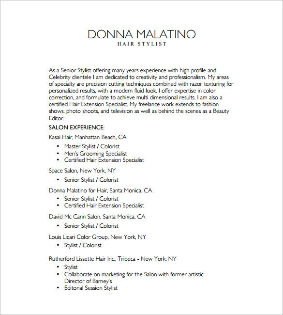 Hair Stylist Resume Template Free Word Excel PDF Format - Free hair stylist resume templates