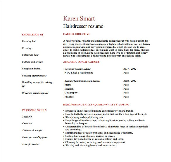 Hair Stylist Resume Template 9 Free Word Excel PDF Format – Hair Stylist CV Template