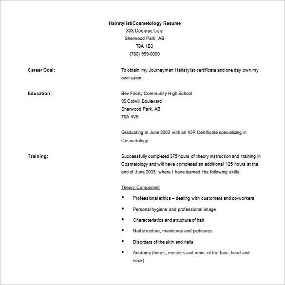 cosmetology resume free word template download