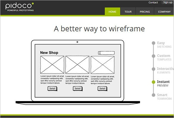 pidoco tool for wireframe design