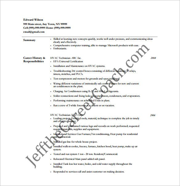 Hvac Resume Template   Free Word Excel Pdf Format Download