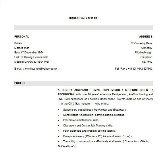 hvac supervisor resume free word downlaod