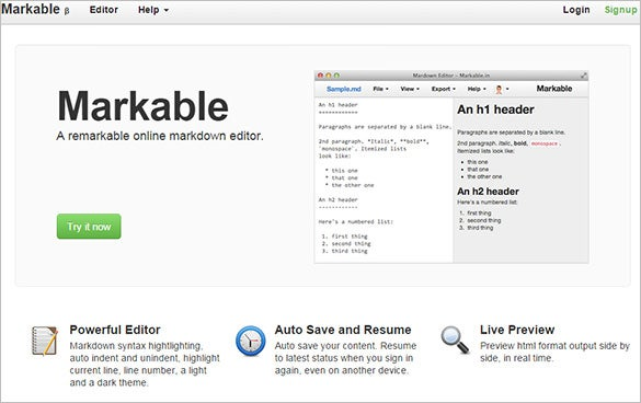 markable online text editor for free