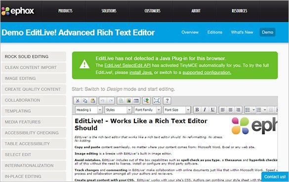 ephox advanced rich online text editor
