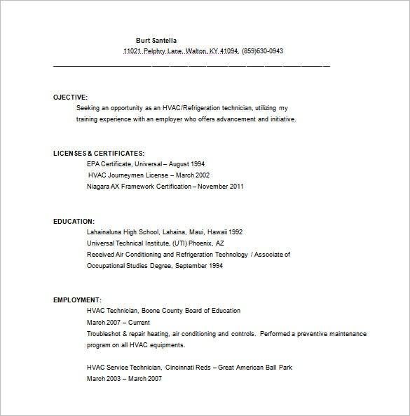 HVAC Service Technician Resume Free Word Template