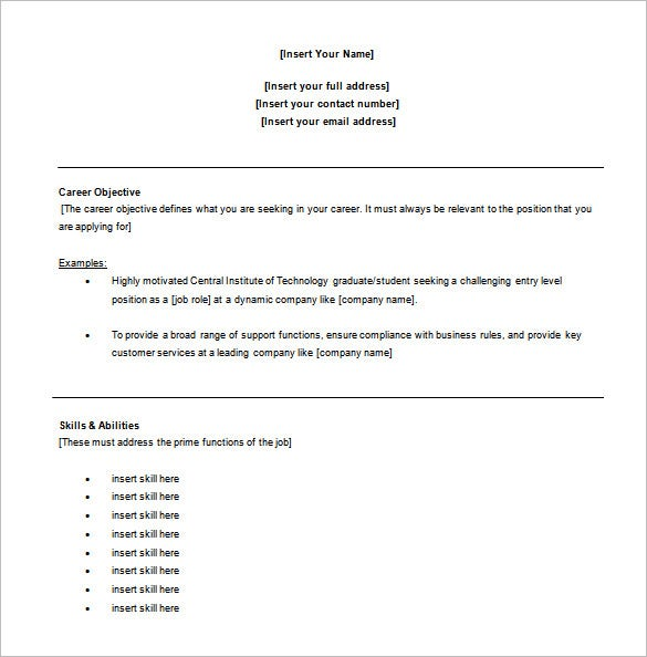 free samples of resume