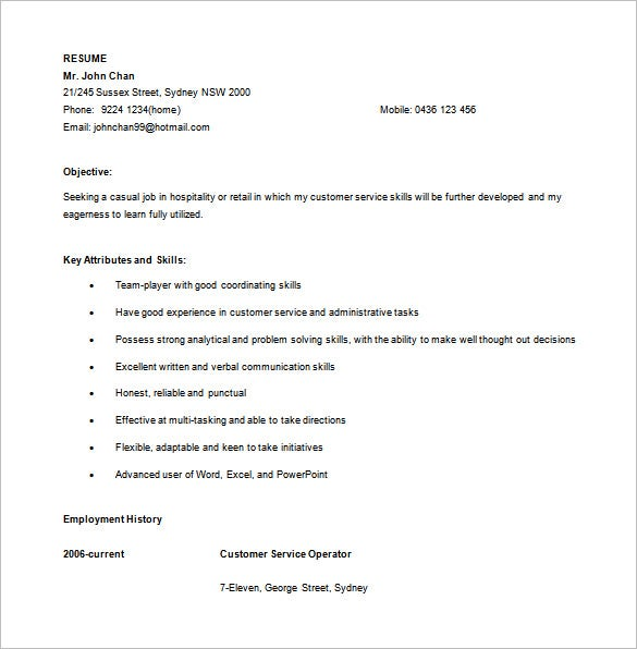retail customer service resume in ms word - Australian Resume Template Word