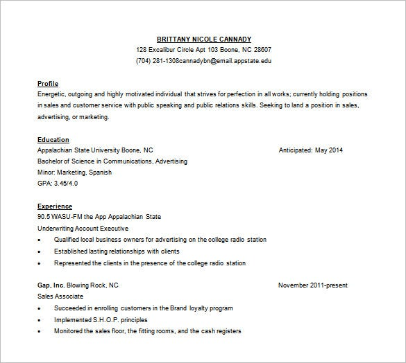 sales customer service resume free word template